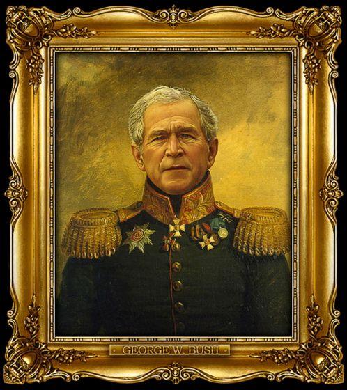 Διασημότητες παρουσιάζονται  ως ρωσική στρατηγοί - George W. Bush