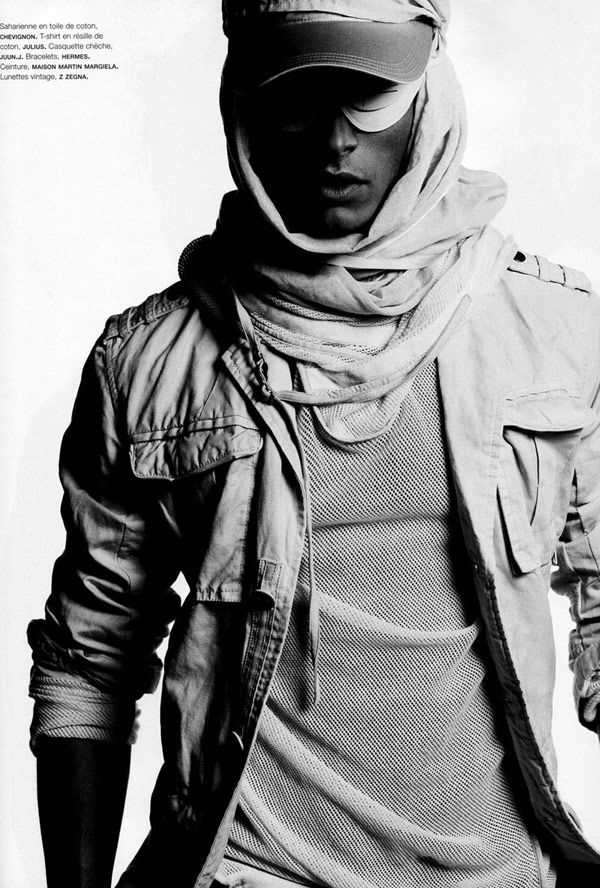 Baptiste Dzhiabikoni in photo shoots Lagerfeld