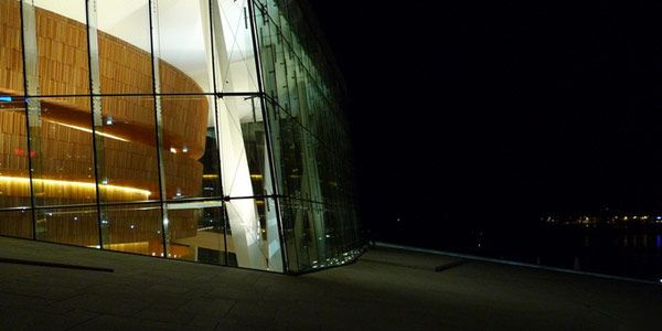 Night view of the Opera House in Oslo
