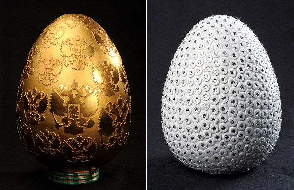 Luxurious Porcelain Eggs by Peter Nebengaus