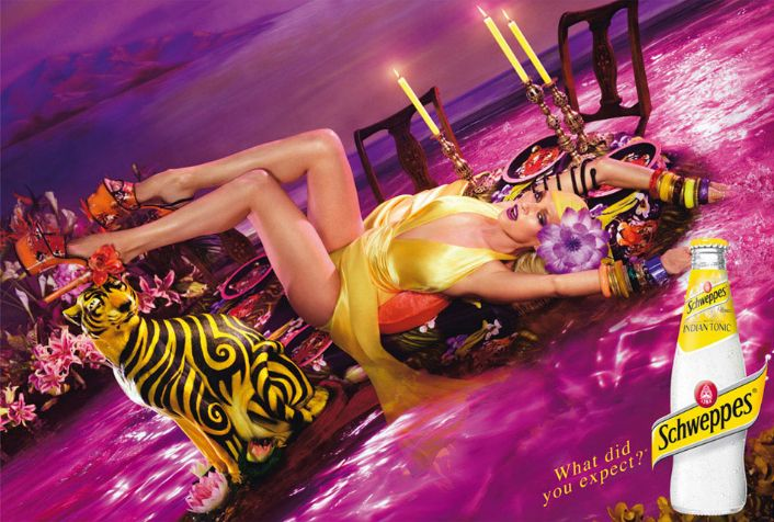 Uma Thurman and David Lachapelle in advertising Shweppes