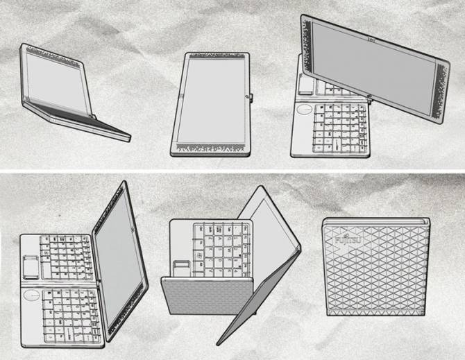 Conceptual laptop-transformer Flexbook