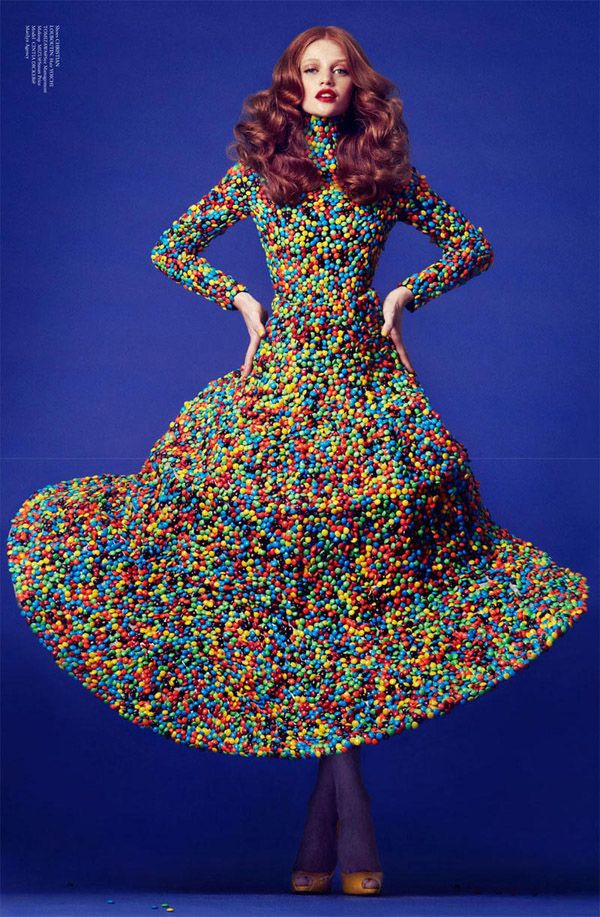 Dress of unusual materials in Virgine Magazine