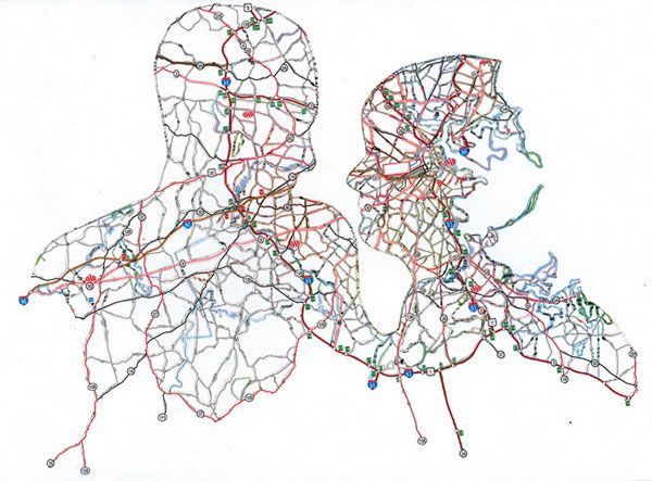 Portraits of road maps Nikki Rosato